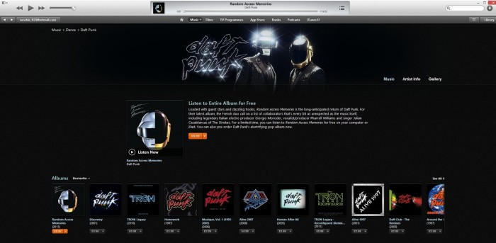 daft punk random access memories on itunes streaming