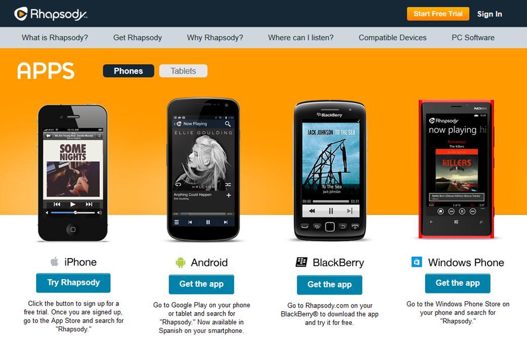 rhapsody mobile phones iphone ios android blackberry windows phone
