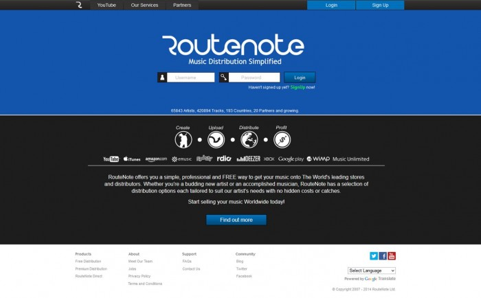 routenote home page 3.0 digital music distribution and video distribution