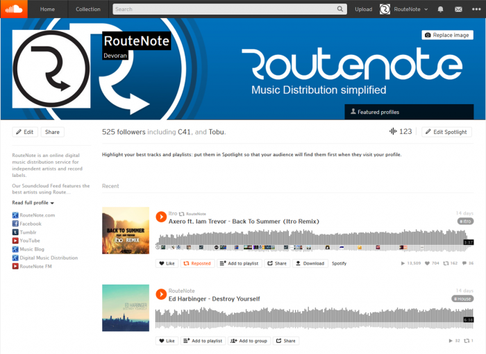 2480 X 520 Pixels Related Keywords: RouteNote Soundcloud Network Accounts Can Now Change Their