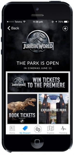 Jurassic World's Shazam page in Australia
