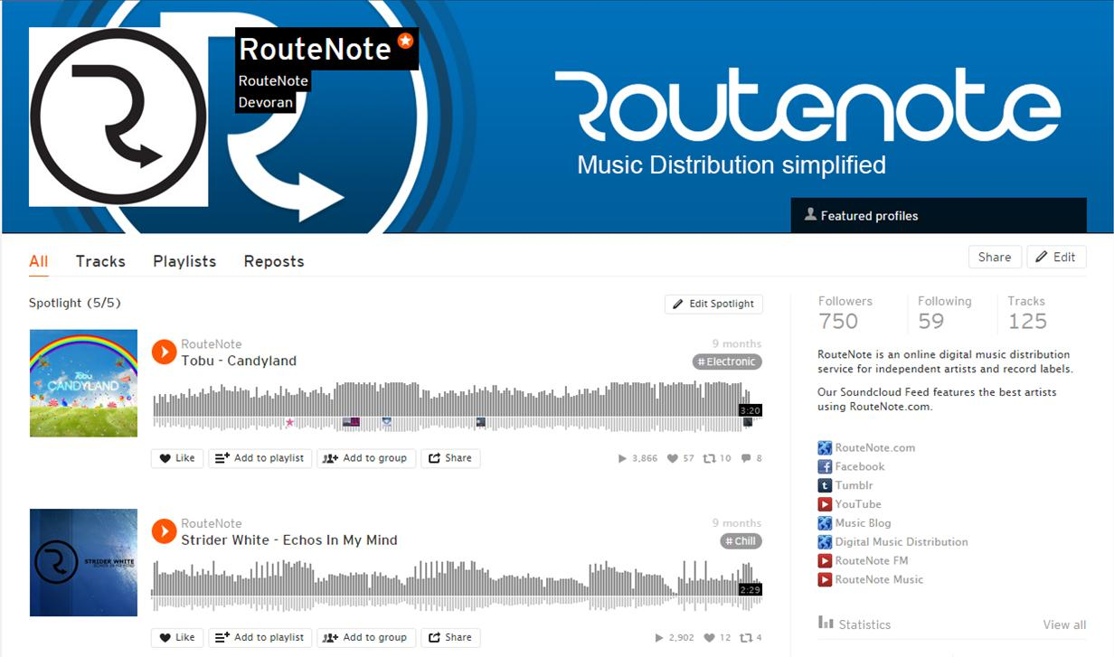 routenote partners with soundcloud to offer free unlimited tier for