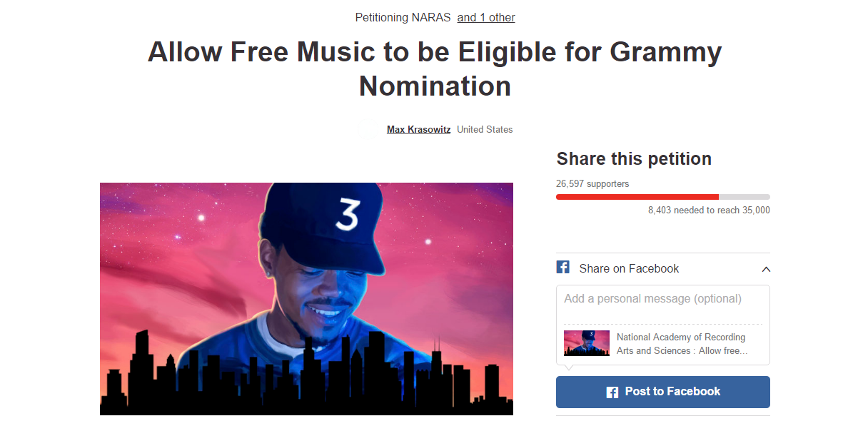 Grammys online music petition Chance the Rapper