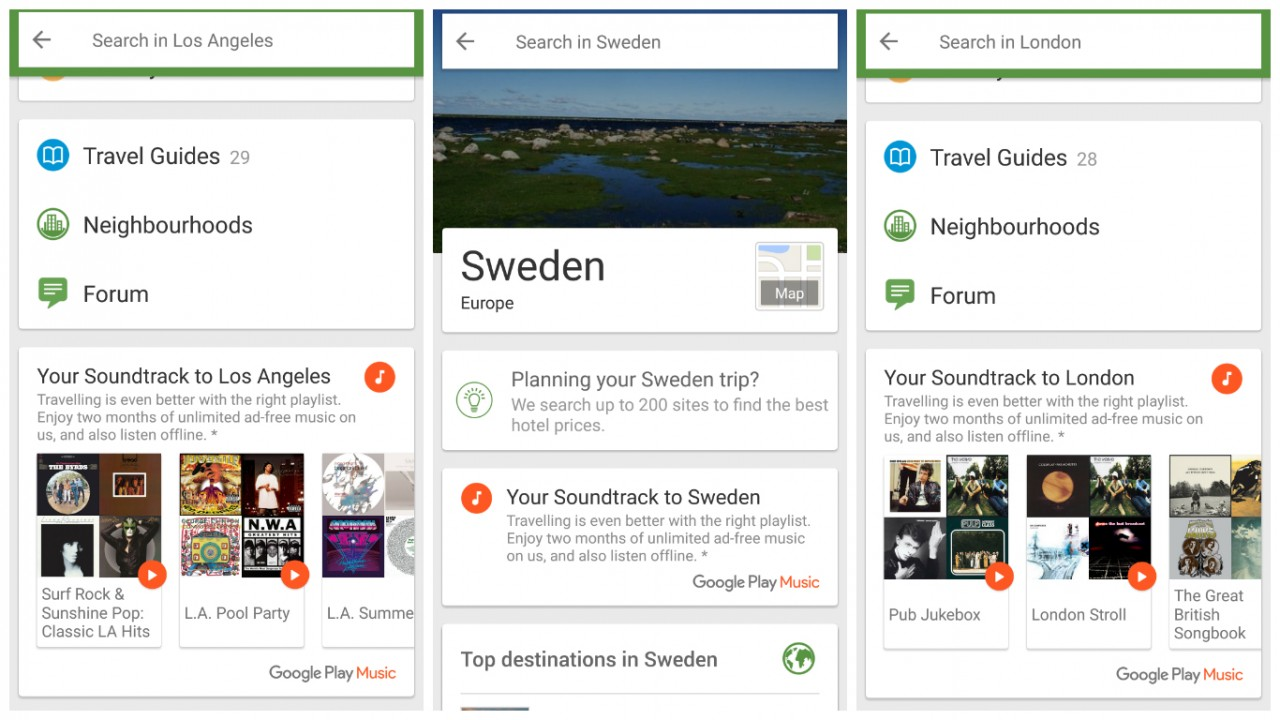 Trip Advisor now plays location themed music in it's app