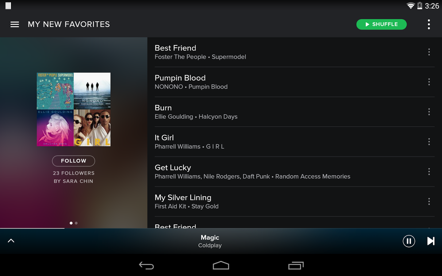 Spotify are keeping the hamburger menu (top left) on Android for now