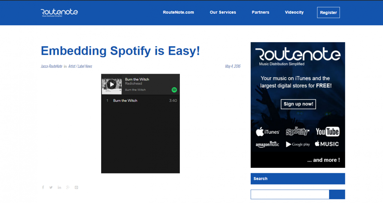 How To Embed and Customise Spotify In Websites and Blogs - RouteNote
