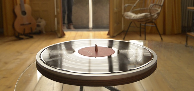 floating vinyl record player
