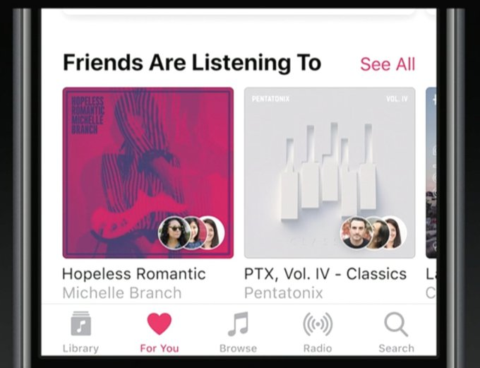 Apple Music new social sharing features friends music streaming listening to music Spotify competing for subscribers most