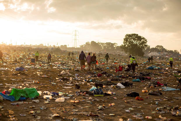 Glastonbury after wreckage abandoned rubbish