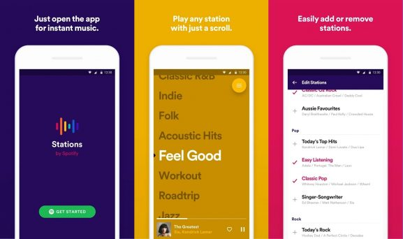 Spotify Stations music streaming app playlists station