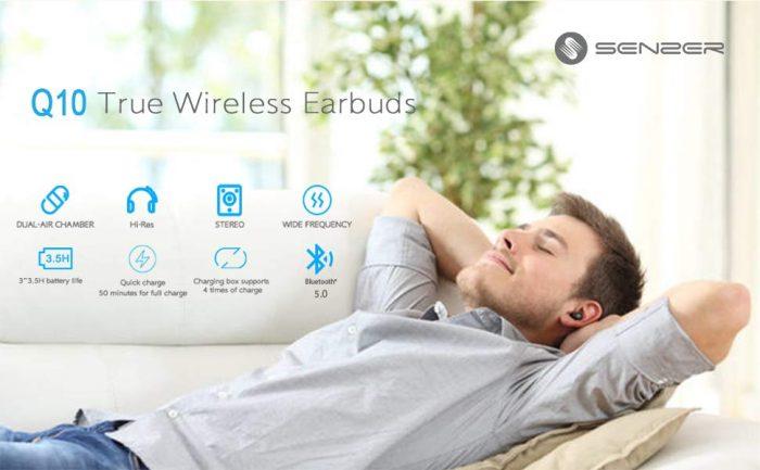 Senzer Q10 earphones earbuds music wireless listening cyber monday black friday weekend deals discount sales