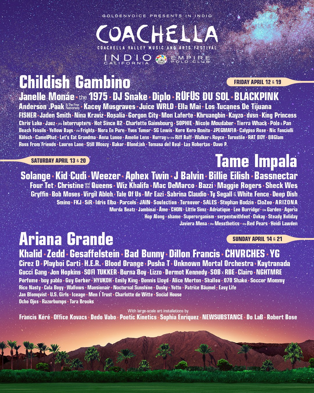 2019 coachella line up music festival lineup