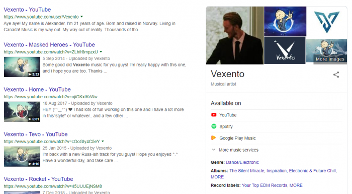 google knowledge graph panel artist page insights links social media website youtube search info bio edit customise
