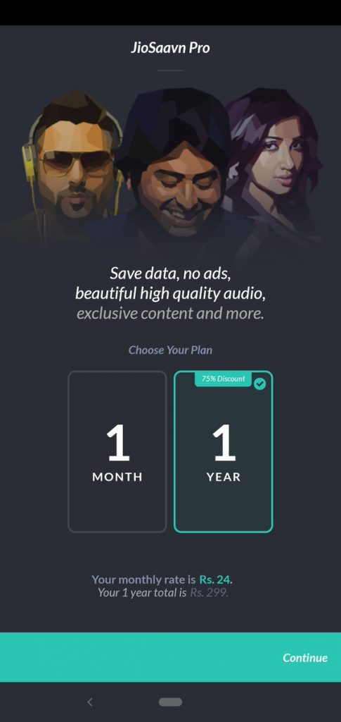 JioSaavn music streaming india price plan pro subscription discount