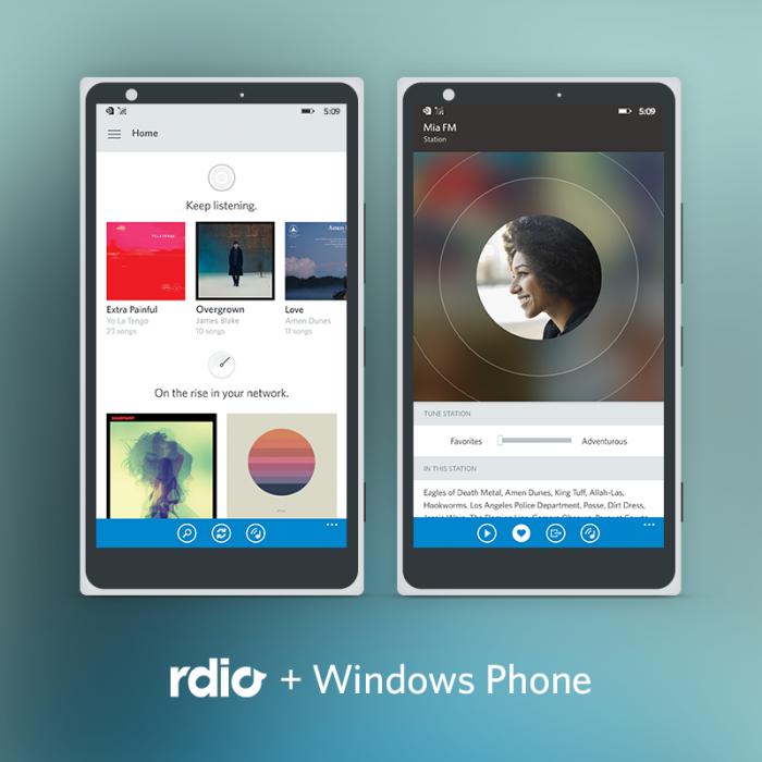 Rdio Windows Phone