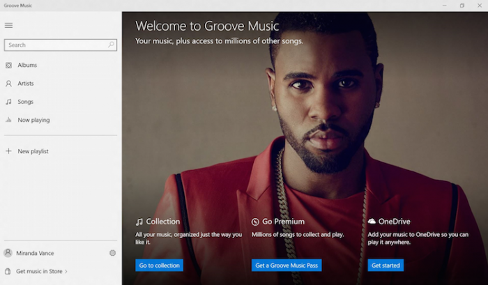 Groove Music's welcome page