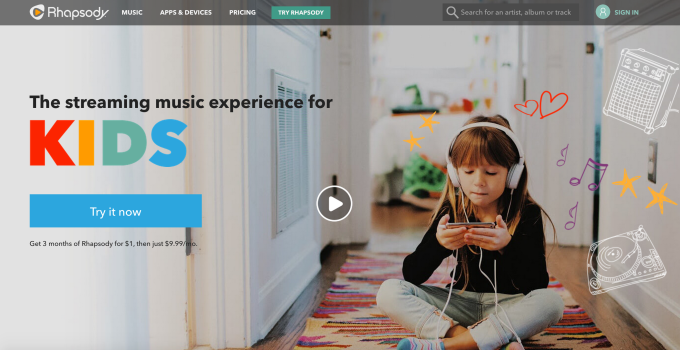 rhapsody music streaming for kids