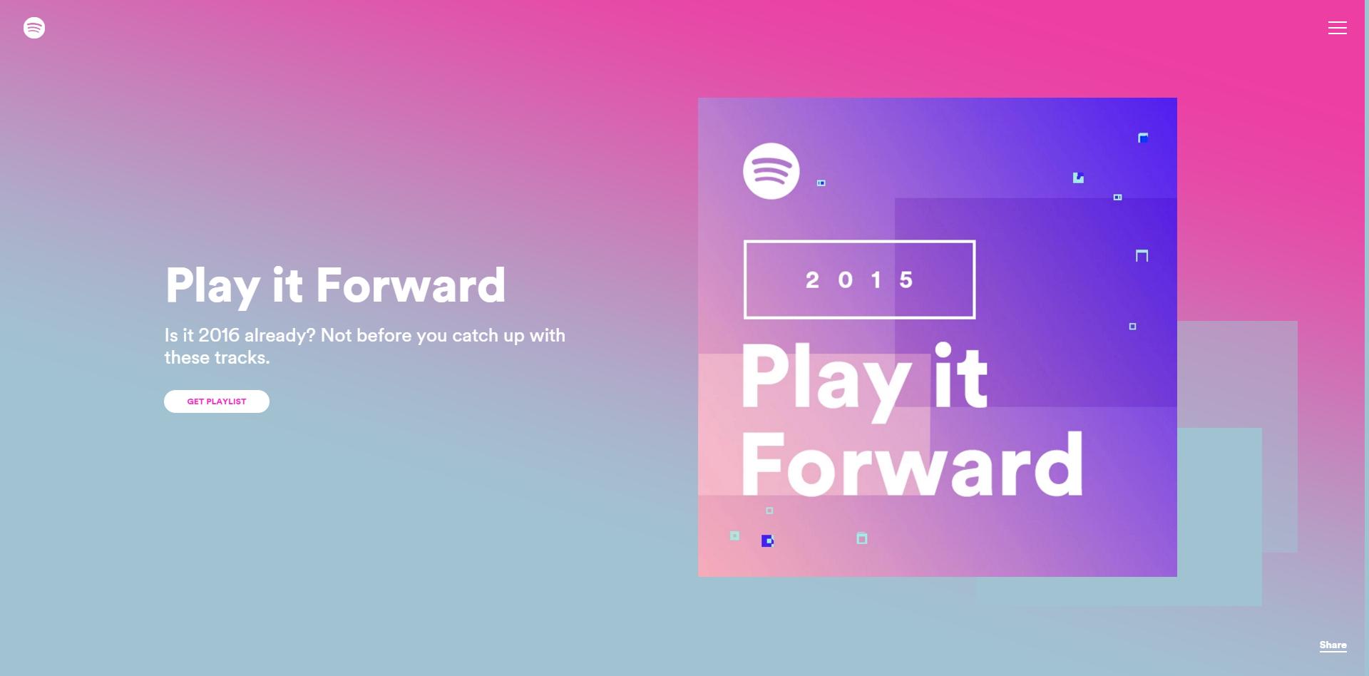 Spotify Year in Music Play it Forward