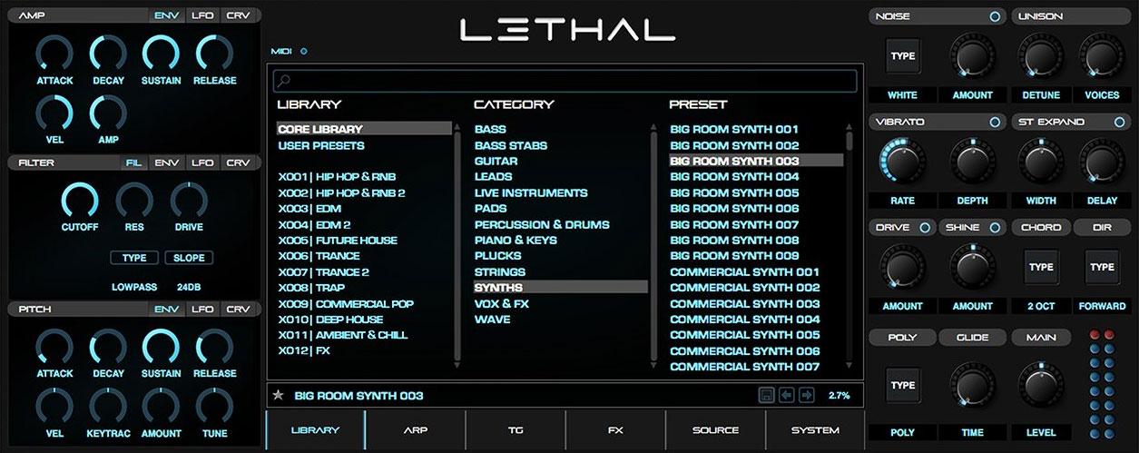 Lethal vst plugin instrument synthesiser