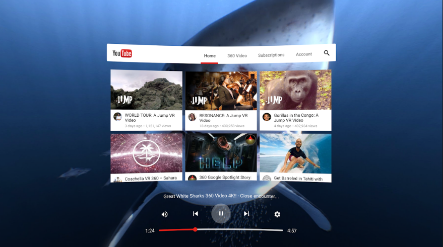 virtual reality YouTube videos application