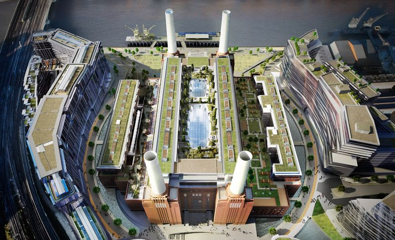 Birds eye view of Battersea Power Station planned renovation