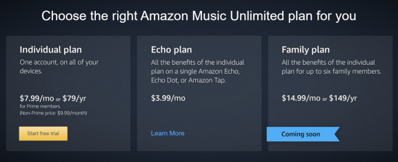 Amazon Music unlimited pricing plans