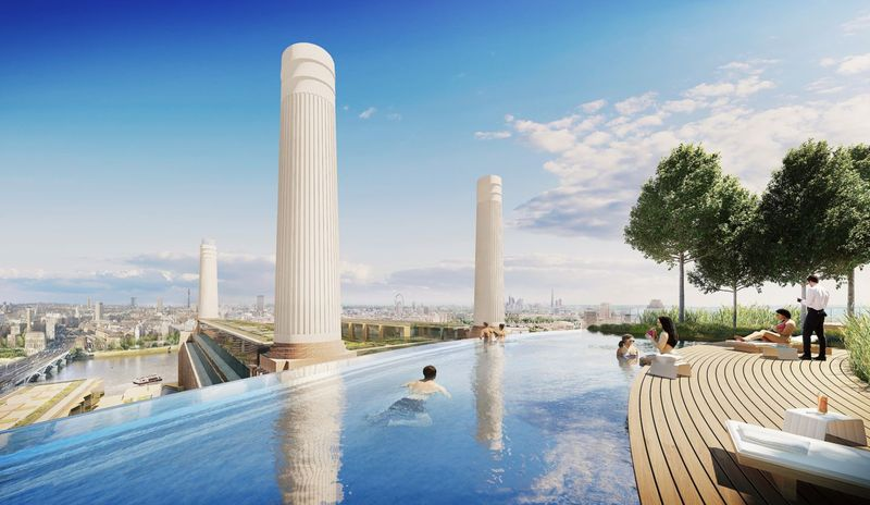 Rooftop Swimming Pool Battersea Power Station renovation London
