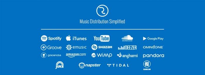 music distributor online digital free RouteNote tunecore cdbaby distrokid apple music tidal pandora deezer youtube soundcloud spotify itunes google