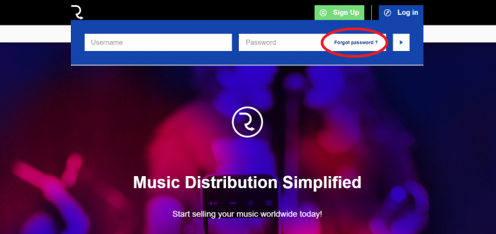 log in password account routenote artist music distribution recovery