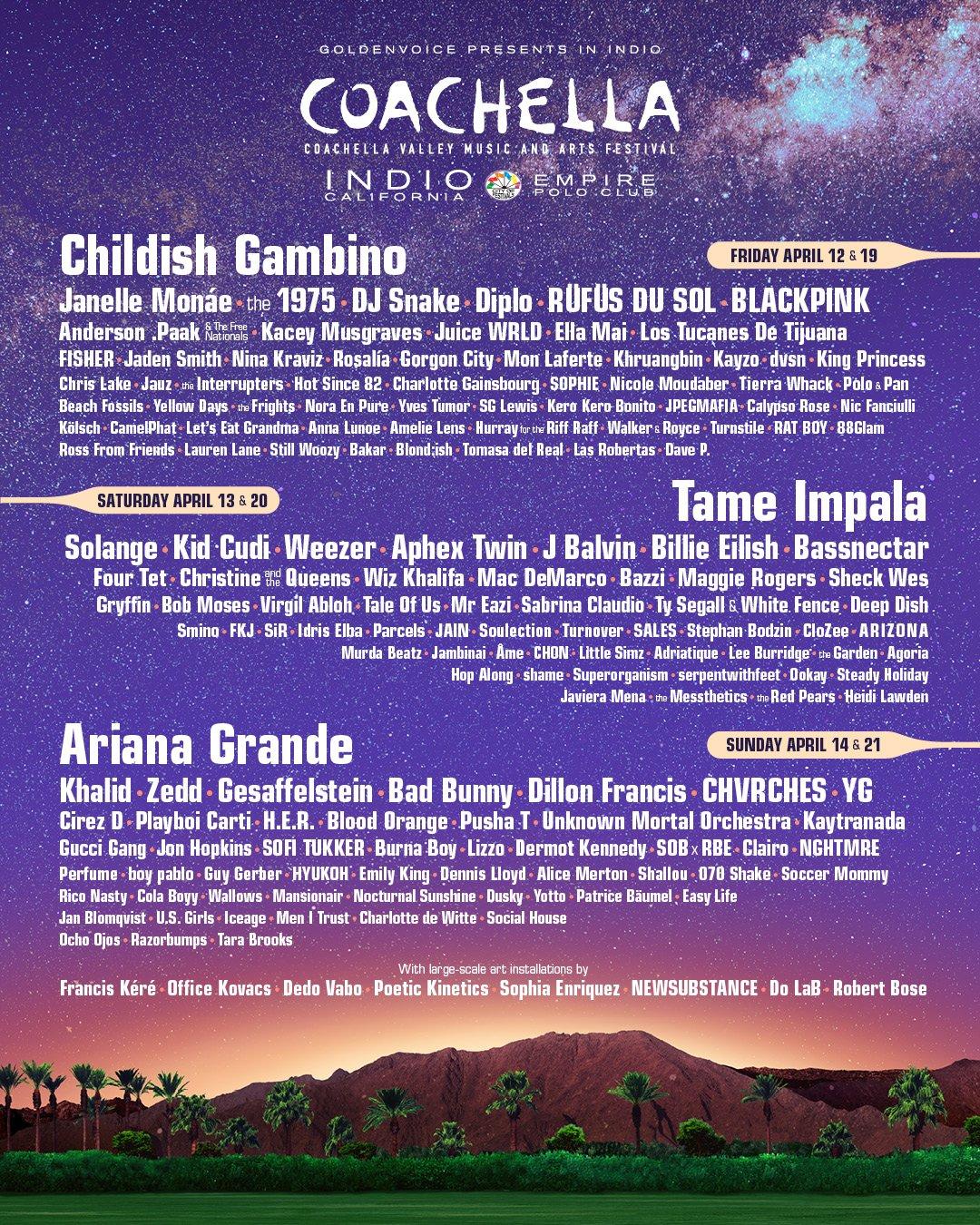 2019 coachella line up music festival lineup