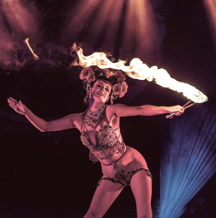 Talulah Blue & Diva burlesque dancing entertainment great estate madame wong's house of wrong