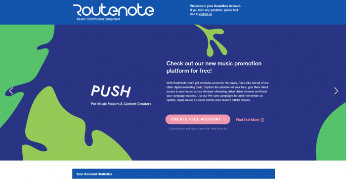 Push registration routenote users