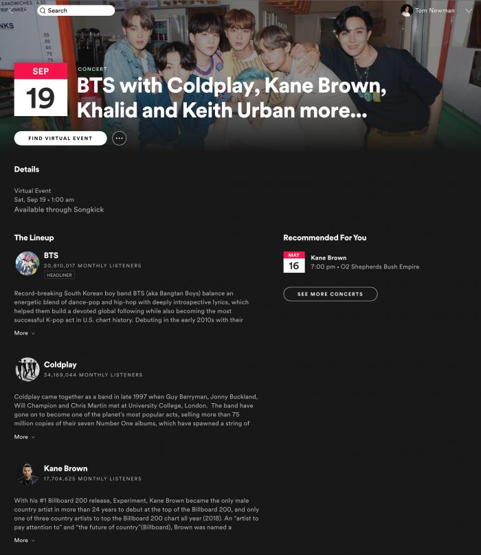 Spotify Upcoming Virtual Events