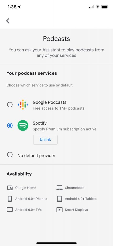 Spotify Podcasts on Google Assistant