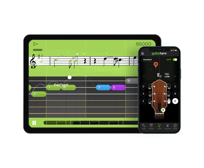 Yousician music app and Guitartuna app