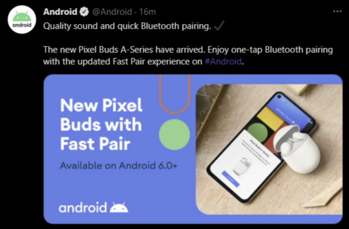 Google Pixel Buds A-Series Tweet