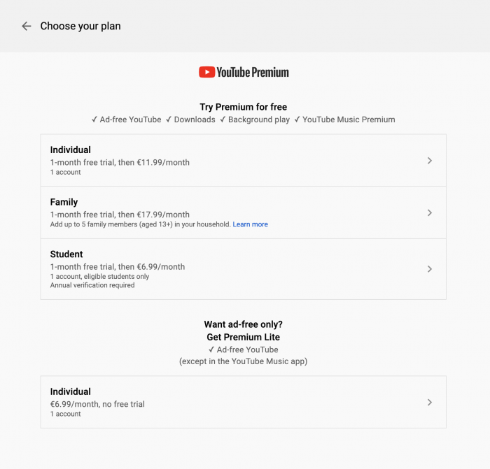 YouTube Premium Europe pricing