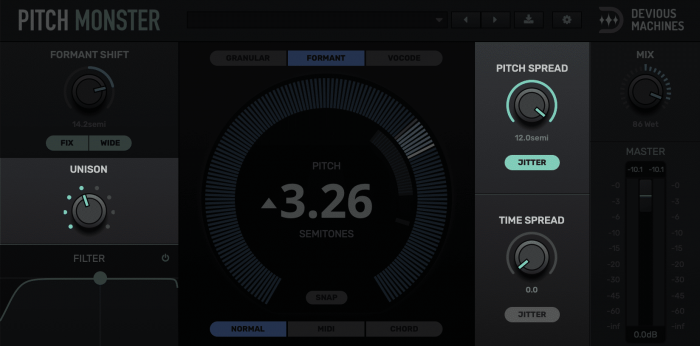 Pitch Monster Unison, Jitter And Spread