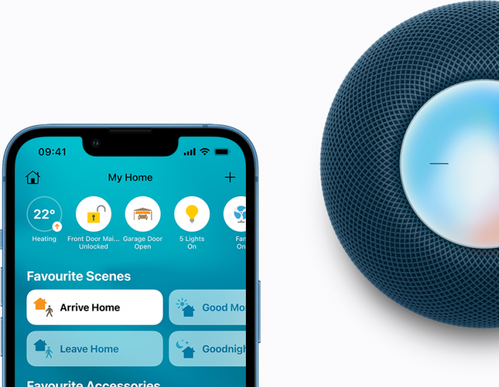 iPhone with the Home app and HomePod mini in blue